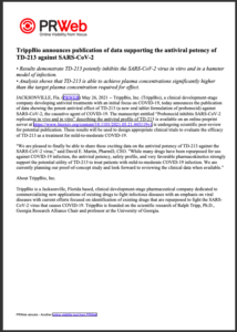 TrippBio announces publication of data supporting the antiviral potency of TD-213 against SARS-CoV-2